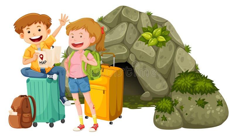 Um par que viaja à caverna ilustração royalty free
