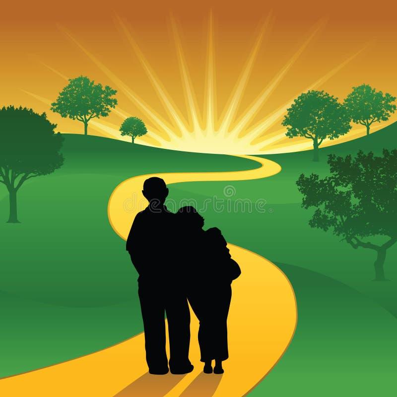 Um par velho feliz na estrada do por do sol ilustração stock