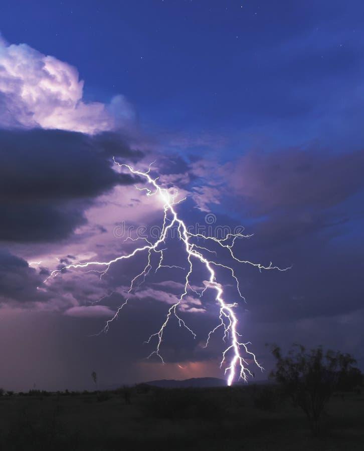 Um parafuso de relâmpago na noite do deserto imagem de stock
