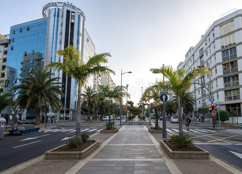 Um passeio pedestre no meio da avenida Tres de Mayo com as palmeiras múltiplas nos lados, Santa Cruz de Tenerife, Espanha imagens de stock