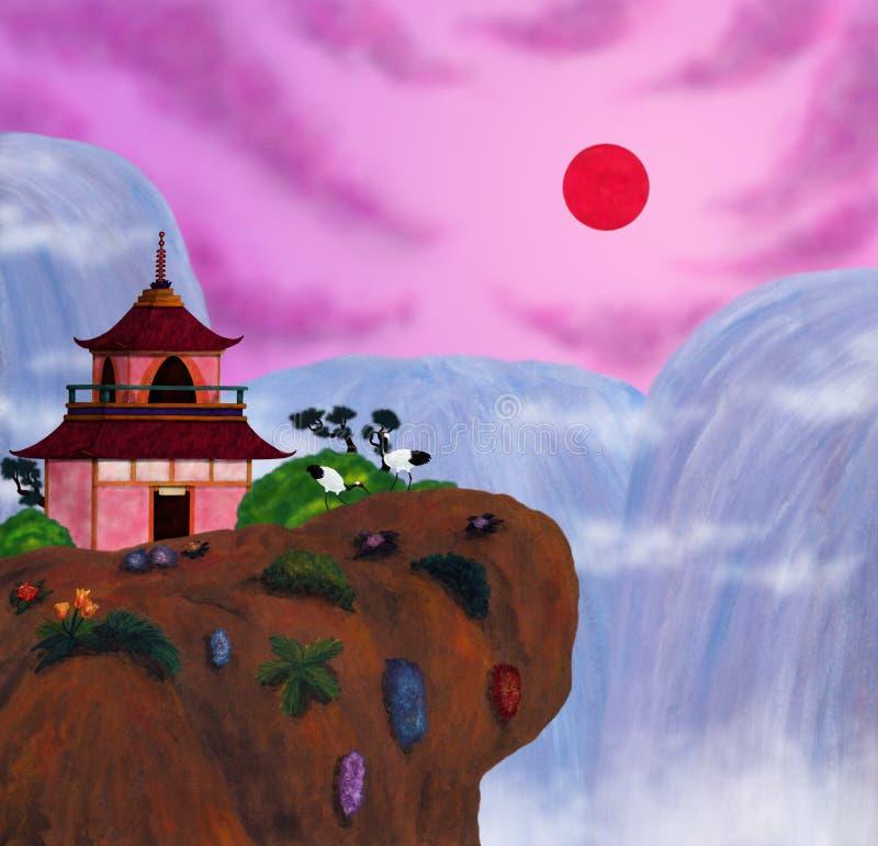 Um pavilhão japonês com um par de guindastes que estão em uma rocha na frente das cachoeiras gigantes e do sol de aumentação, o e ilustração do vetor
