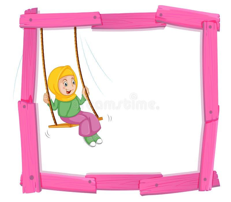 Um pecado muçulmano da menina no quadro do balanço ilustração royalty free