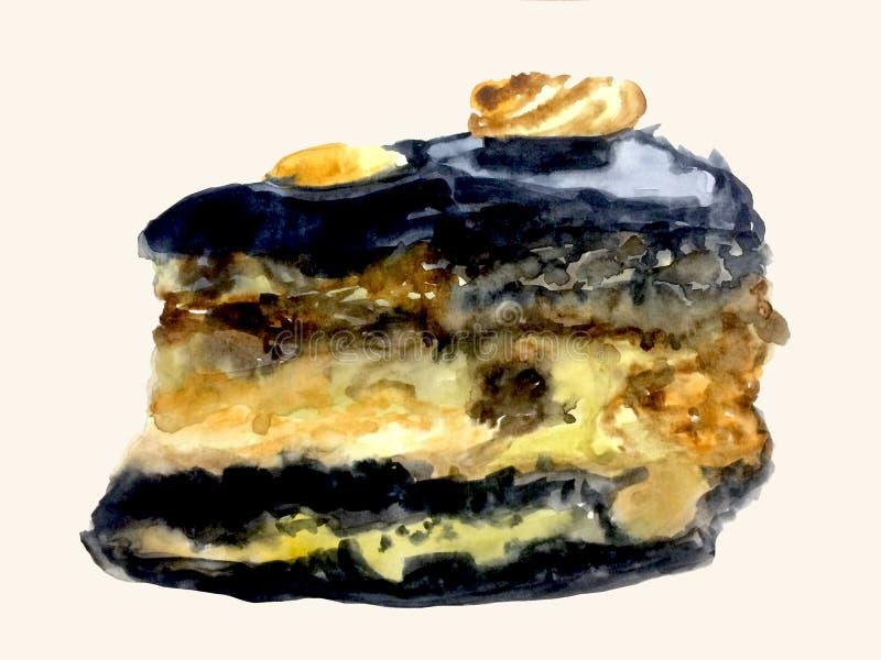 Um pedaço de bolo pintado com aquarelas ilustração do vetor