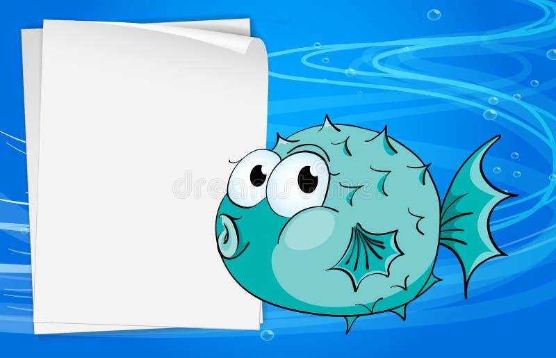 Um peixe ao lado de um papel sob o mar ilustração do vetor