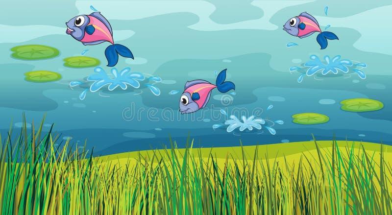 Um peixe em um rio e em uma paisagem bonita ilustração royalty free