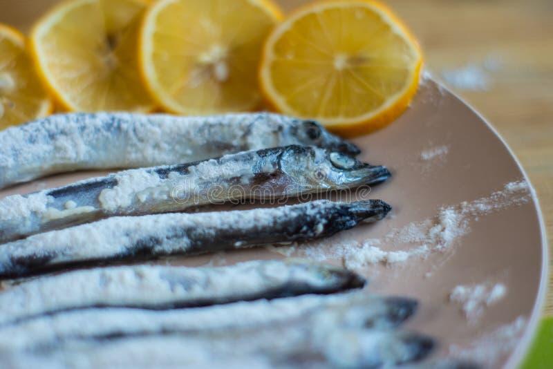Um peixe rolado em mentiras da farinha em uma placa bege imagens de stock royalty free