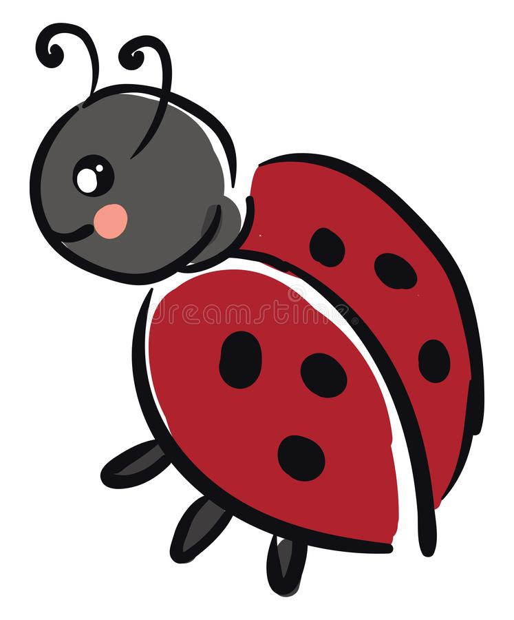 Um pequeno vetor de ladybug de cor preta ou ilustração colorida ilustração royalty free