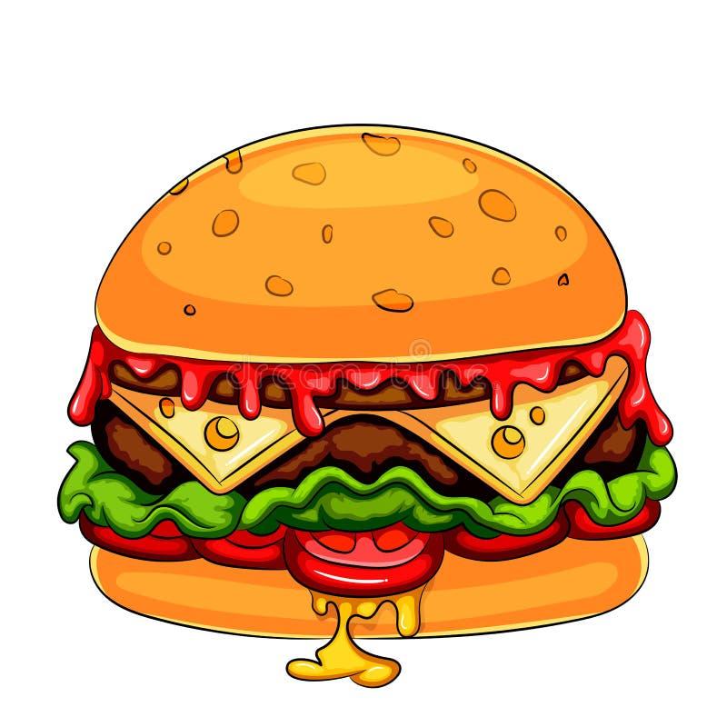 Um personagem de banda desenhada do cheeseburger do Hamburger da mascote ilustração do vetor