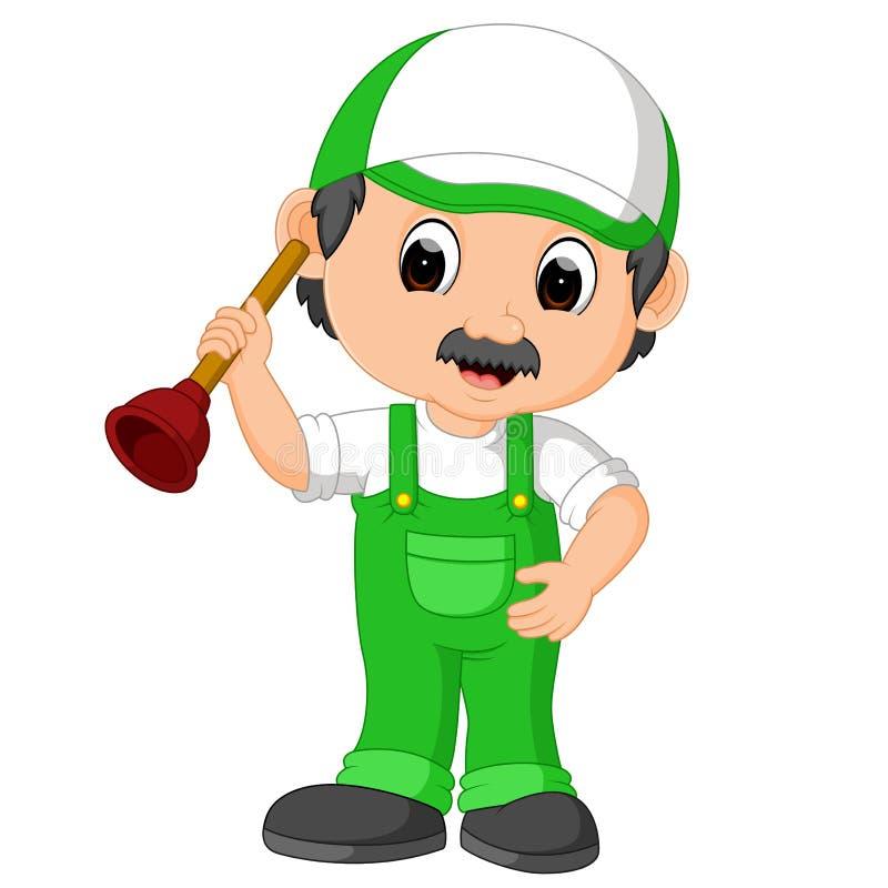 Um personagem de banda desenhada do trabalhador manual do encanador que guarda um atuador ilustração stock