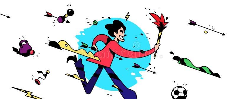 Um personagem de banda desenhada está correndo com uma tocha Ilustração do vetor O empregado de escritório está correndo Jogos do ilustração royalty free