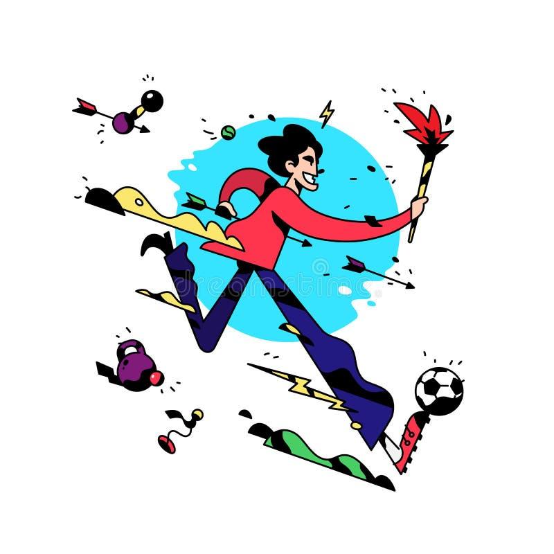 Um personagem de banda desenhada está correndo com uma tocha Ilustração do vetor O empregado de escritório está correndo Jogos do ilustração stock