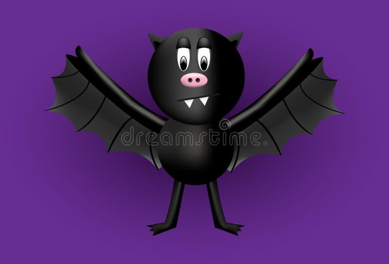 Um personagem de banda desenhada preto do bastão com uma barriga gorda Não assustador bonito fotografia de stock royalty free