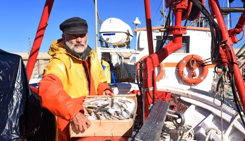 Um pescador com uma caixa de peixes dentro de um barco de pesca imagens de stock royalty free