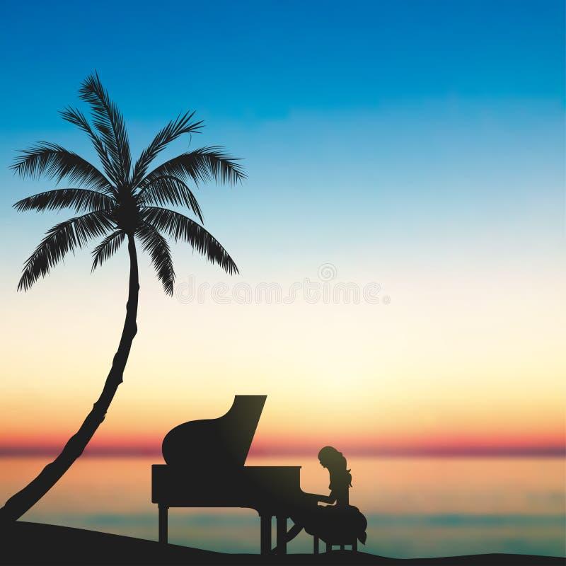 Um pianista Under The Sunset, beira-mar, ilha tropical ilustração stock
