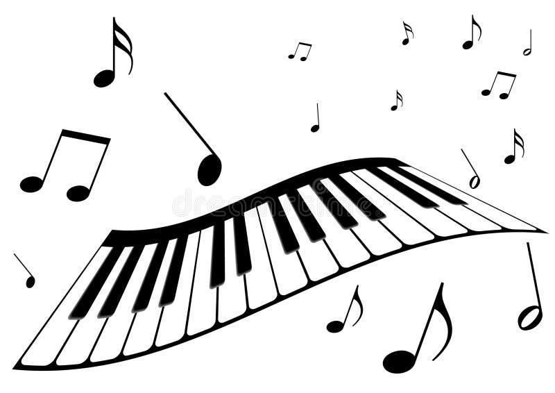 um piano e notas da música ilustração do vetor