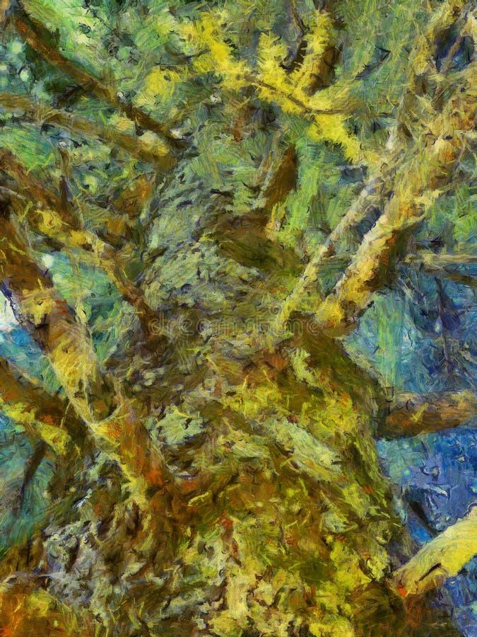 Um pinheiro muito velho, estilo semi abstrato da pintura a óleo foto de stock