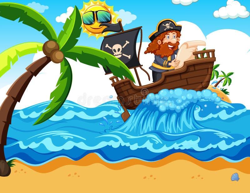 Um pirata que lê um mapa ilustração do vetor