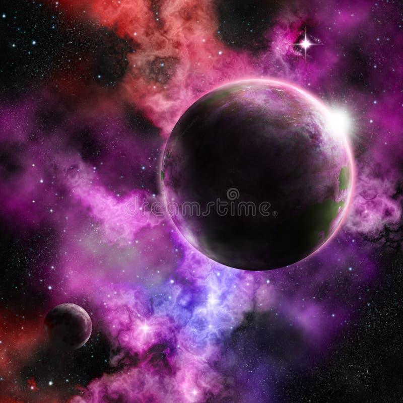 Um planeta em um ajuste vívido da nebulosa foto de stock royalty free