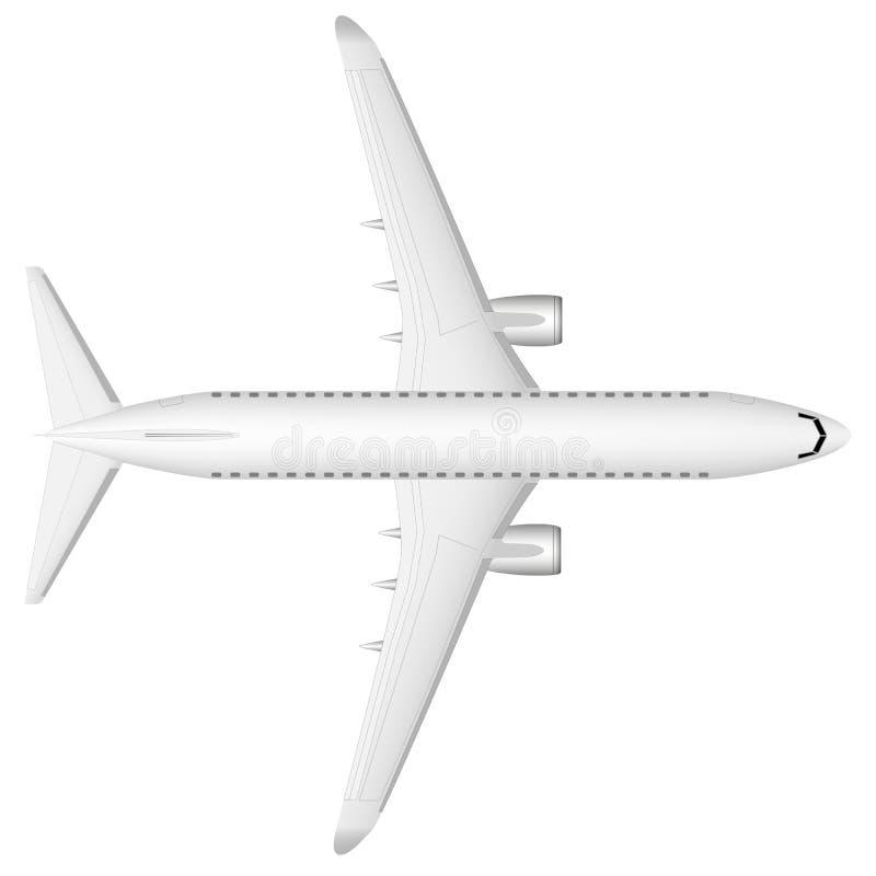 Um plano branco do passageiro moderno do jato na pista de decolagem Vista de acima Uma imagem bem-desenvolvida com uma massa de d ilustração do vetor