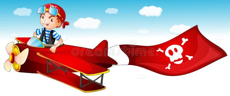 Um plano do vôo do menino ilustração do vetor