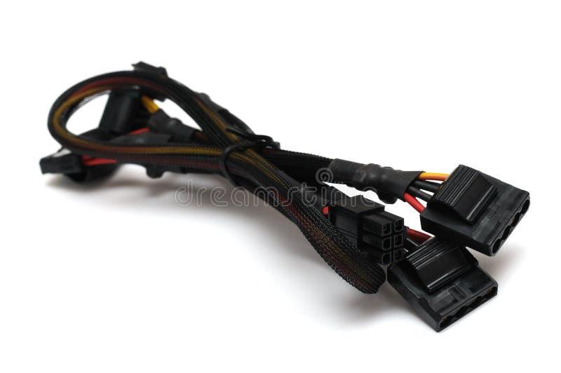 Um poder do computador de quatro pinos e seis cabos de ramo expressos do poder do PCI do pino fotografia de stock