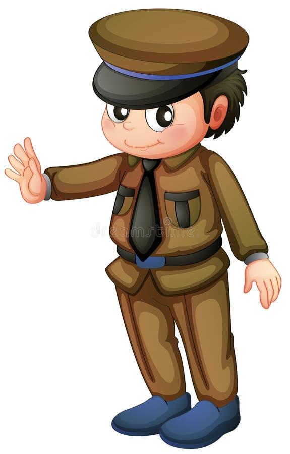Um polícia em um uniforme marrom ilustração stock