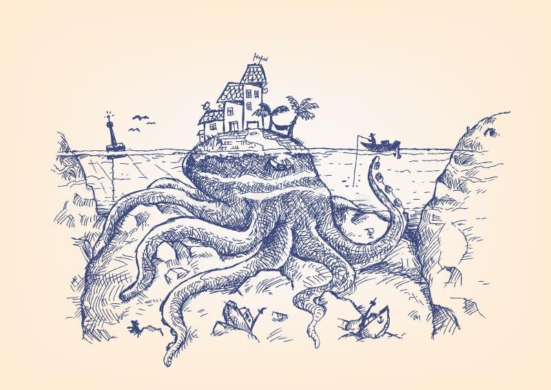 Um polvo gigante disfarçado esconde o Underwater e ataca um pescador ilustração do vetor