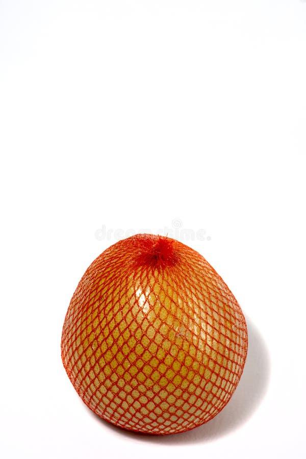 Um pomelo maduro é empacotado em uma grade Pomelo isolado em um fundo branco imagem de stock royalty free
