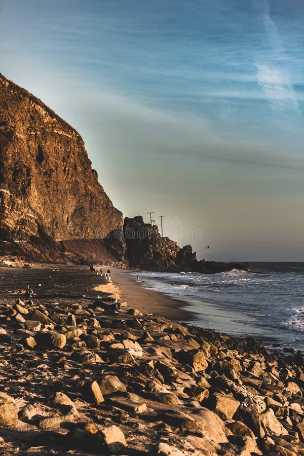 Um por do sol bonito em Malibu fotografia de stock