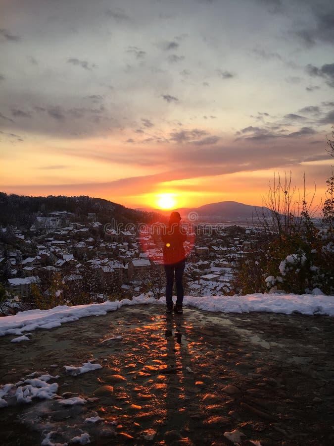 Um por do sol do inverno fotografia de stock
