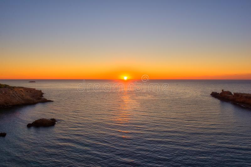 Um por do sol em Ibiza fotografia de stock royalty free