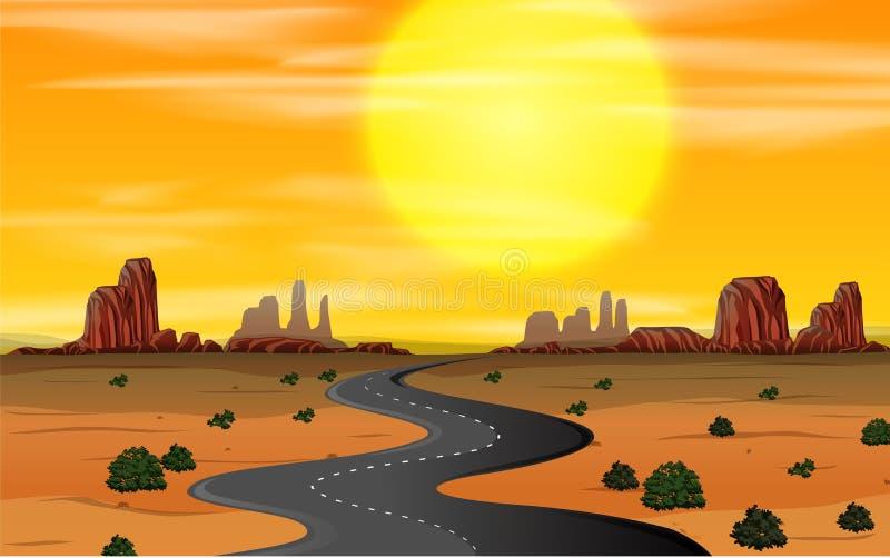 Um por do sol ocidental selvagem da cena ilustração do vetor