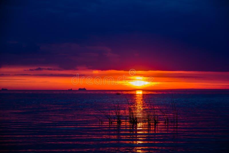 Um por do sol raramente bonito do fogo pelo mar Por do sol no golfo Por do sol no mar foto de stock