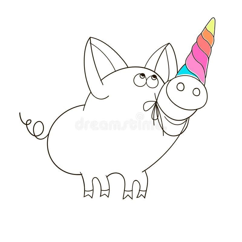 Um porco com um chifre do unicórnio A ilustração das crianças engraçadas dos desenhos animados ilustração do vetor