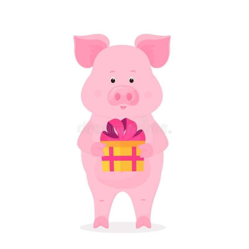Um porco engraçado que guarda uma caixa com um presente amarrado com uma fita com uma curva Piggy engraçado O símbolo do ano novo ilustração royalty free