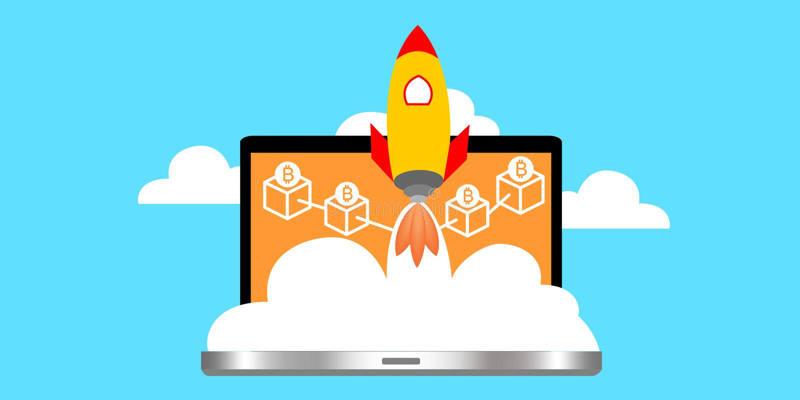 Um portátil com o foguete de espaço que representa a tecnologia do cryptocurrency do lançamento ilustração royalty free