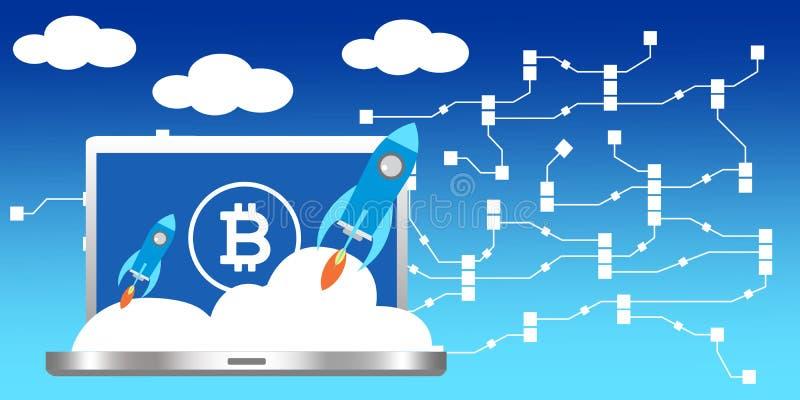 Um portátil com o foguete de espaço que representa a tecnologia do cryptocurrency do lançamento ilustração stock