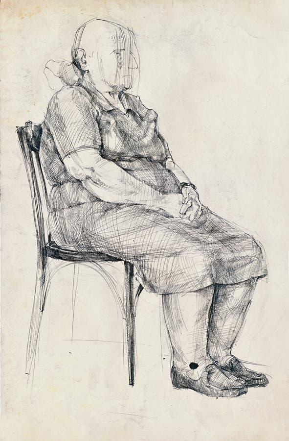 Um pose da mulher adulta ilustração royalty free