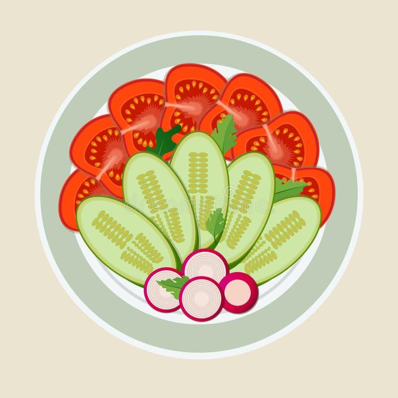 Um prato de vegetais cortados ilustração do vetor