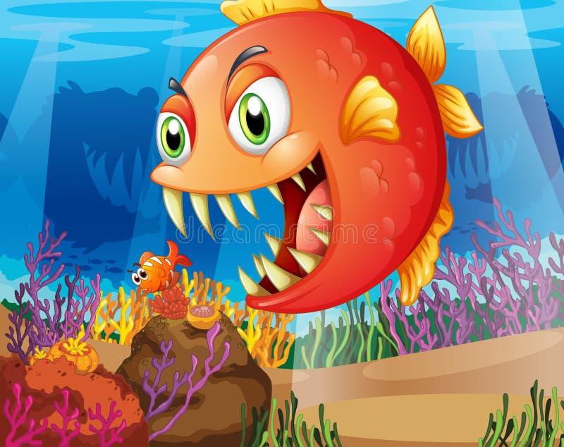 Um predador e uma rapina sob o mar ilustração royalty free