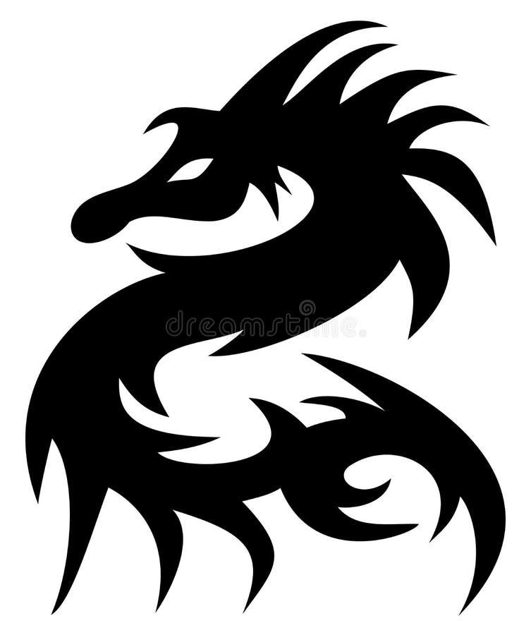 Um preto da tatuagem do dragão ilustração do vetor