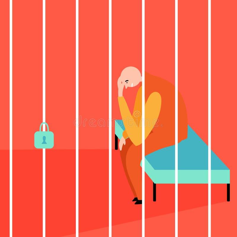 Um prisioneiro calvo está sentando-se atrás das barras cadeia Situações fatigantes ilustração royalty free
