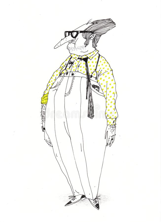 Um professor engenhoso em uma camisa do às bolinhas Ilustração para edições, ou cartaz na parede ilustração royalty free