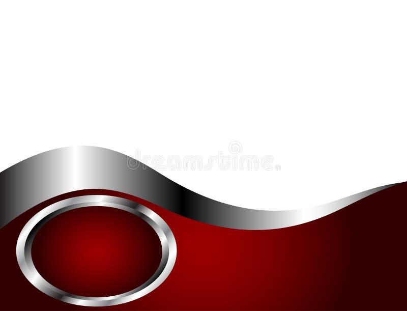 Um profundo - vermelho, prata e molde branco do cartão ilustração royalty free