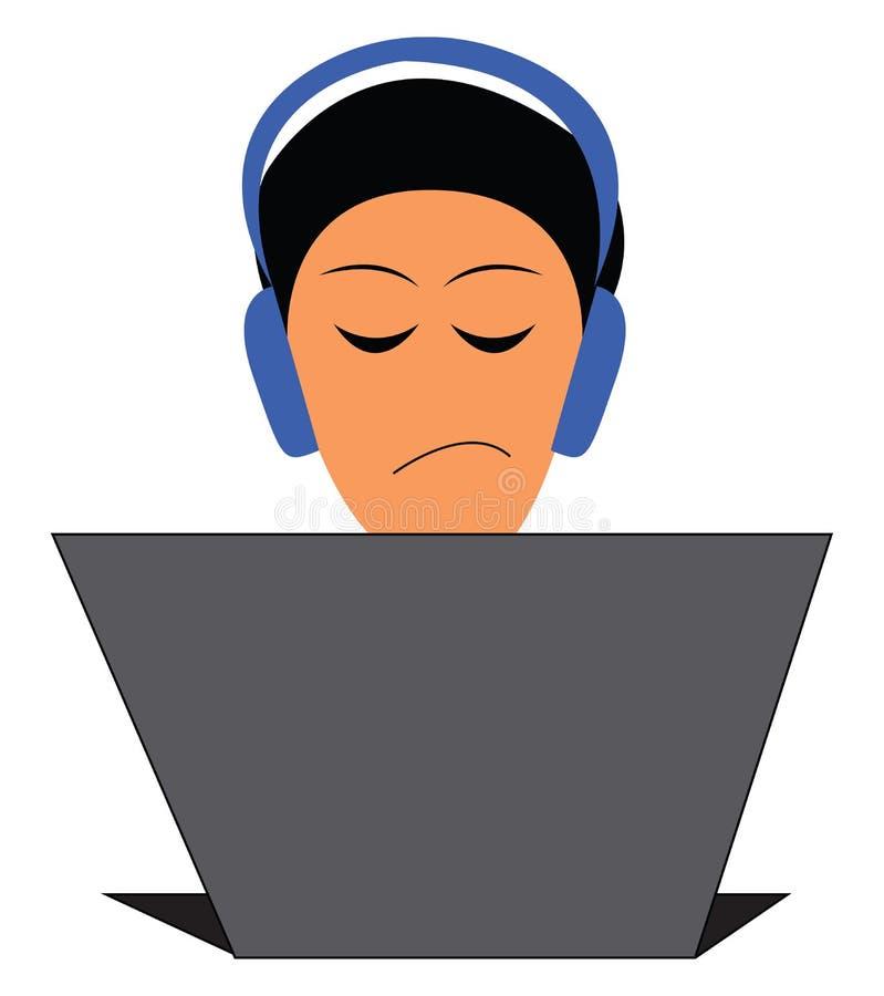 Um programador com seus fones de ouvido está trabalhando em um laptop e expressa um desenho ou ilustração desagradável do vetor d ilustração royalty free