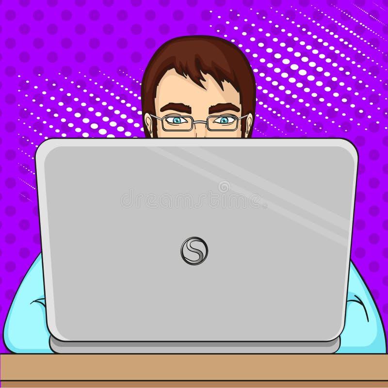 Um programador masculino trabalha para portáteis Pessoal da TI no computador Quadriculação do pop art Imitação do cosiness do est ilustração stock