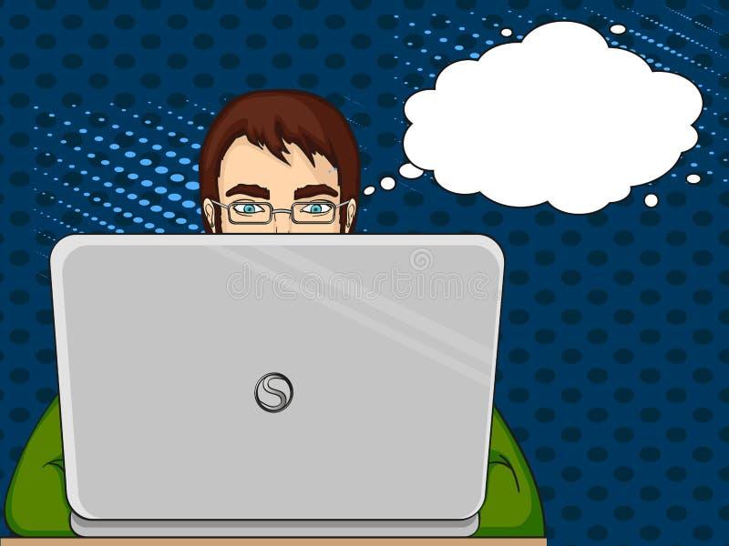 Um programador masculino trabalha para portáteis Pessoal da TI no computador Vetor do pop art Imitação do cosiness do estilo text ilustração do vetor
