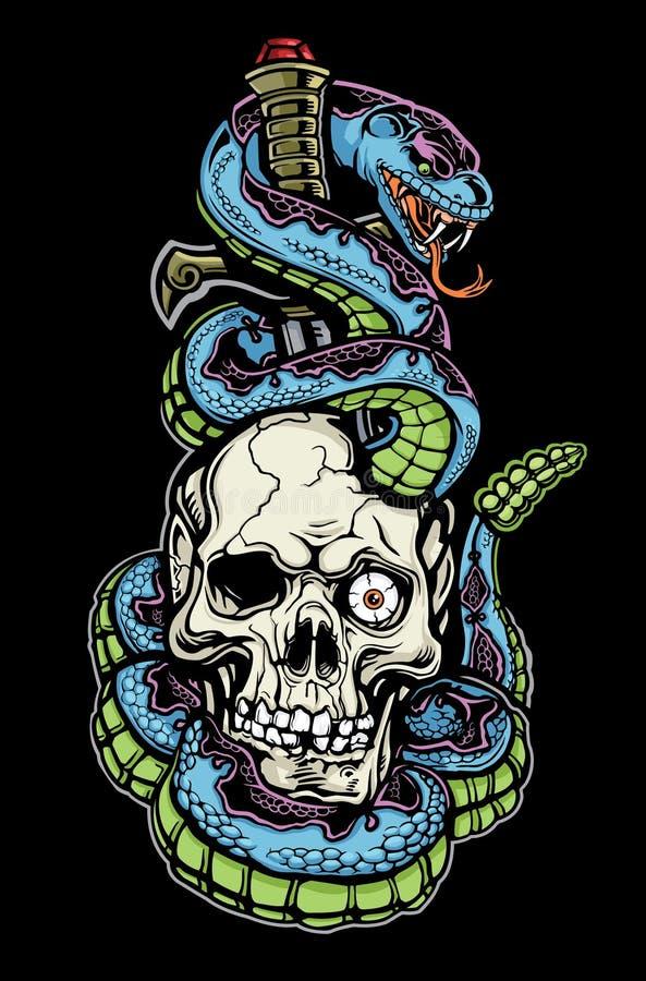 Tatuagem da serpente, do crânio e do punhal ilustração royalty free