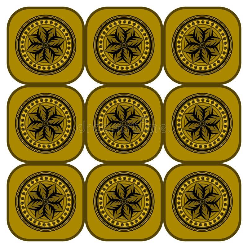 Um projeto denominado medieval circular geométrico floral repetitivo ilustração stock