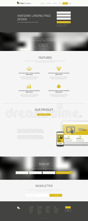 Um projeto do Web site da página ilustração royalty free